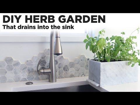 DIY Herb Garden that drains into the sink