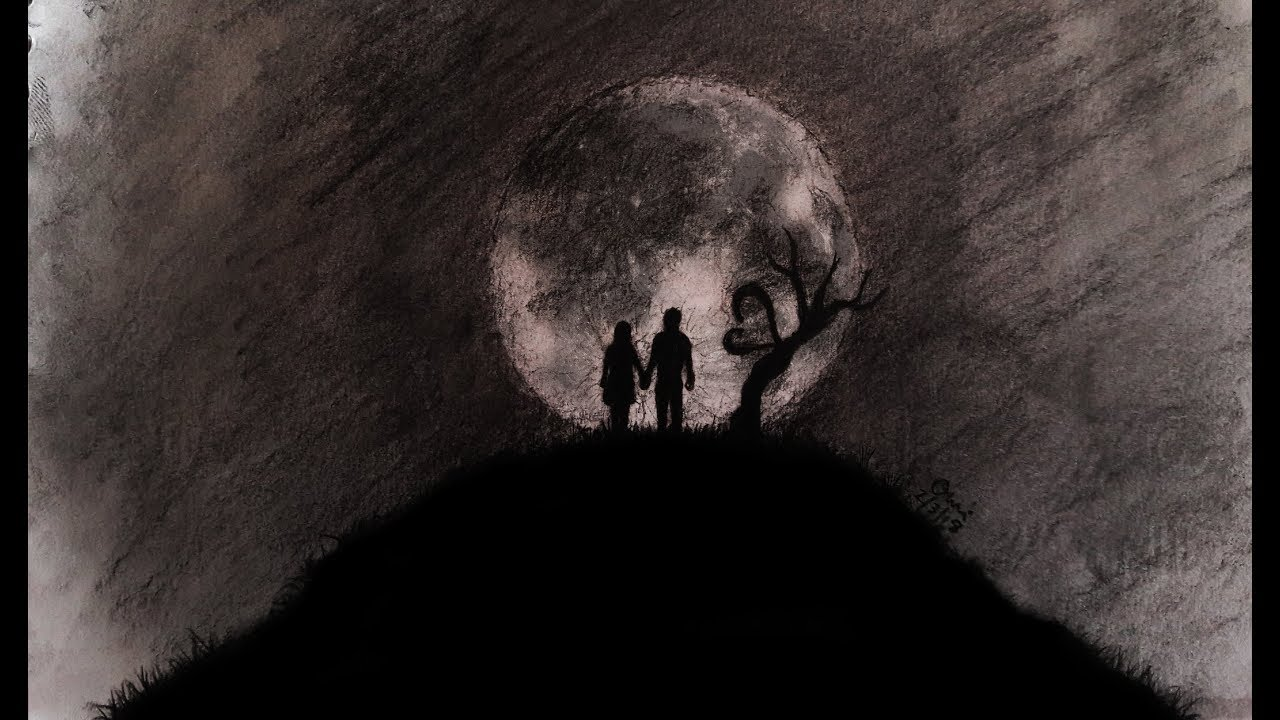 Abstract love and moon drawing couple drawing with charcoal pencil