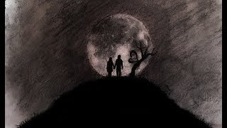 Abstract Love And Moon drawing | Couple Drawing With Charcoal Pencil
