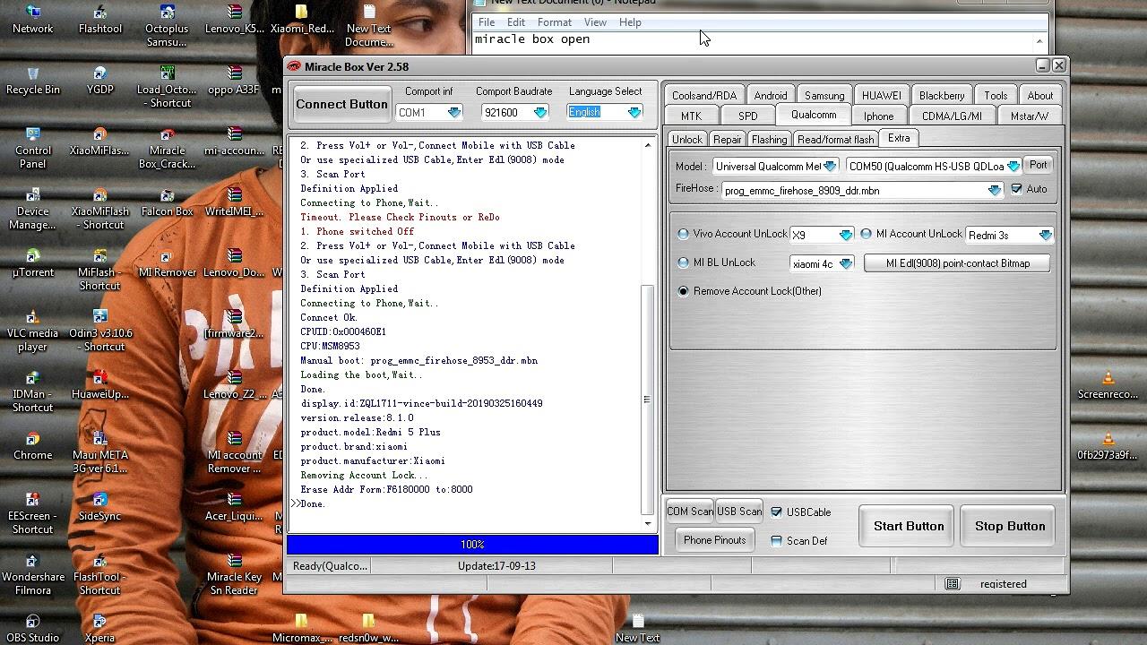 Redmi note 5 mi account remove and frp remove Miracle Box