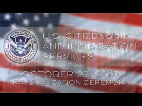 U S  Citizenship & Immigration Services Naturalization Ceremony - 10/27/15