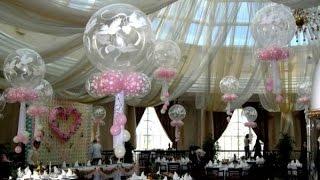 украшение шарами зала на свадьбу Алматы