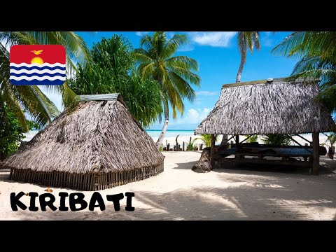KIRIBATI, The straw-hut Primary School of Abatao (Gilbert Islands, Tarawa Atoll), Pacific Ocean