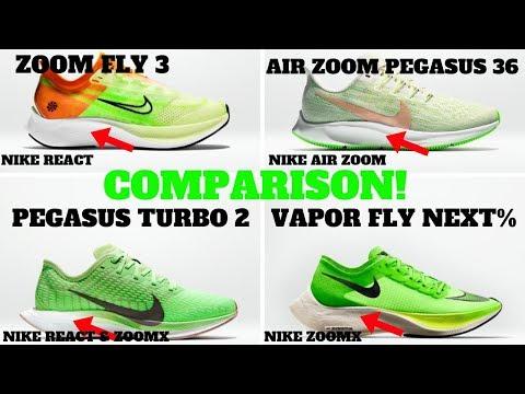 maestría Leve Extremadamente importante  Nike Technology Compared: Zoom Pegasus 36 vs Zoom Fly 3 vs Pegasus Turbo 2  vs ZoomX Vaporfly Next% - YouTube