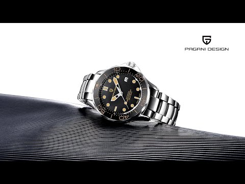 PAGANI DESIGN New Automatic Watch For Men 100M Waterproof Model 1667 Black With Strong Lume