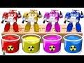 Dye Coloring | Robocar Poli, Robocar Family, Robocar Learn Colors  | Shower Colors for Kids