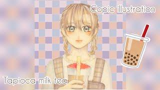 タピオカを飲む女の子A Girl Enjoying Babble Tea コピックイラストメイキング