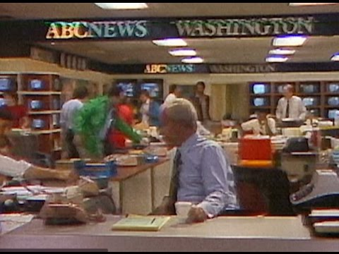 ABC NEWS 1980 Frank Reynolds Silent Newsroom footage on Network line