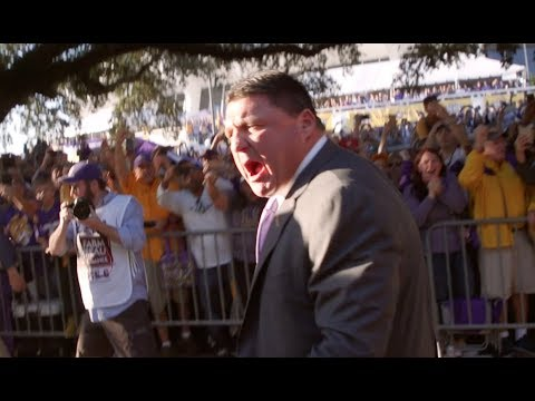 LSU head coach Ed Orgeron beyond fired up during Victory Hill walk