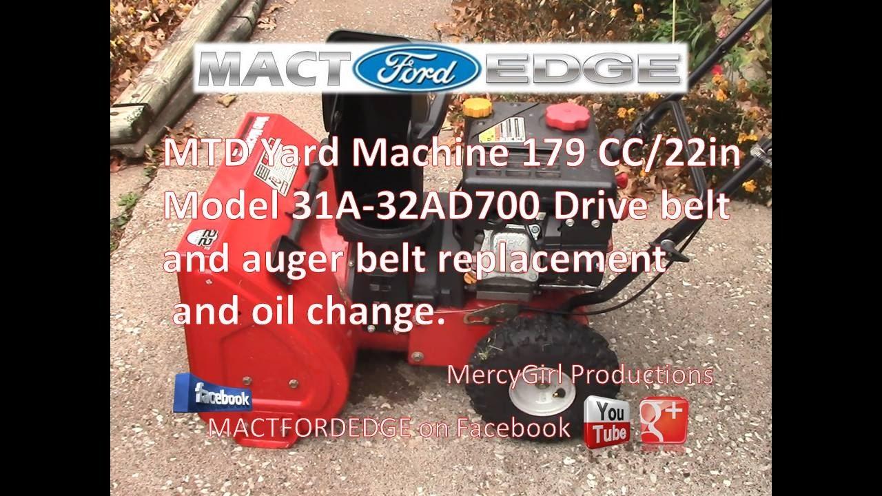 Snow Blower 24 >> MTD Yard Machine Model 31A 32AD700 179 CC 22 inch Snow blower Drive belt and Auger belt ...