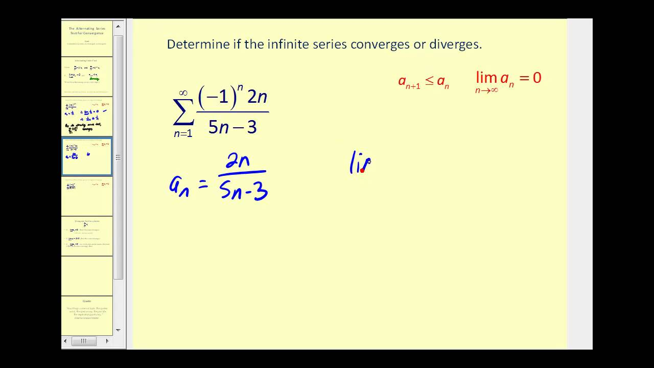 Alternating Series Test Videos | The Infinite Series Module