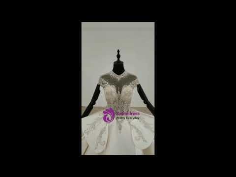 kemedress-ivory-white-ball-gown-satin-high-neck-cap-sleeve-backless-beading-wedding-dress
