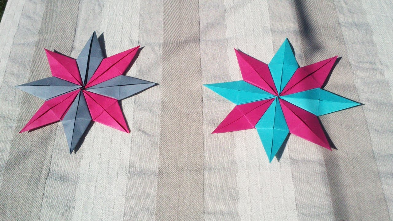 Hd tuto faire une toile en origami make an origami star youtube - Origami facile pour noel ...