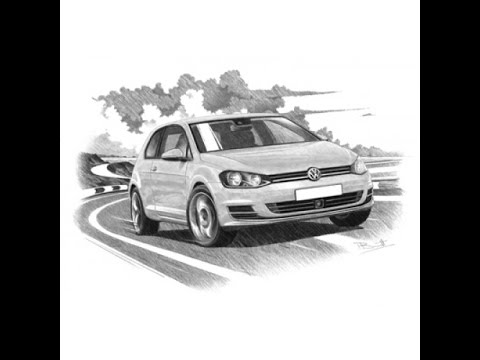 how to draw vw golf mk7 gti