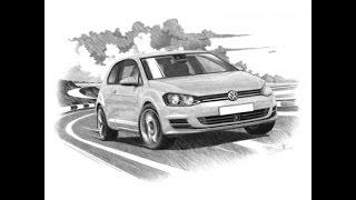 HOW TO DRAW VW GOLF MK7 GTI