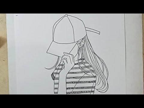 Cara Menggambar Anime Cewek Memakai Topi Berpose Malu Malu Youtube