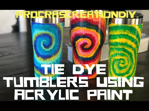 How to Paint a Tie Dye Pattern on a Stainless Steel Tumbler Using Acrylic Paint