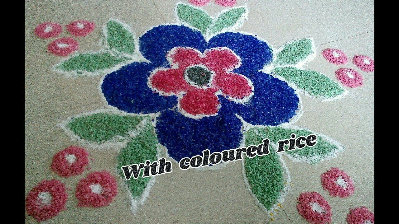 Embossed With Coloured Rice Rangoli Making Of Coloured Rice