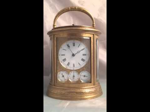 Fully Restored Complicated Grande Sonnerie Engraved Oval Carriage Clock by Drocourt, c1880