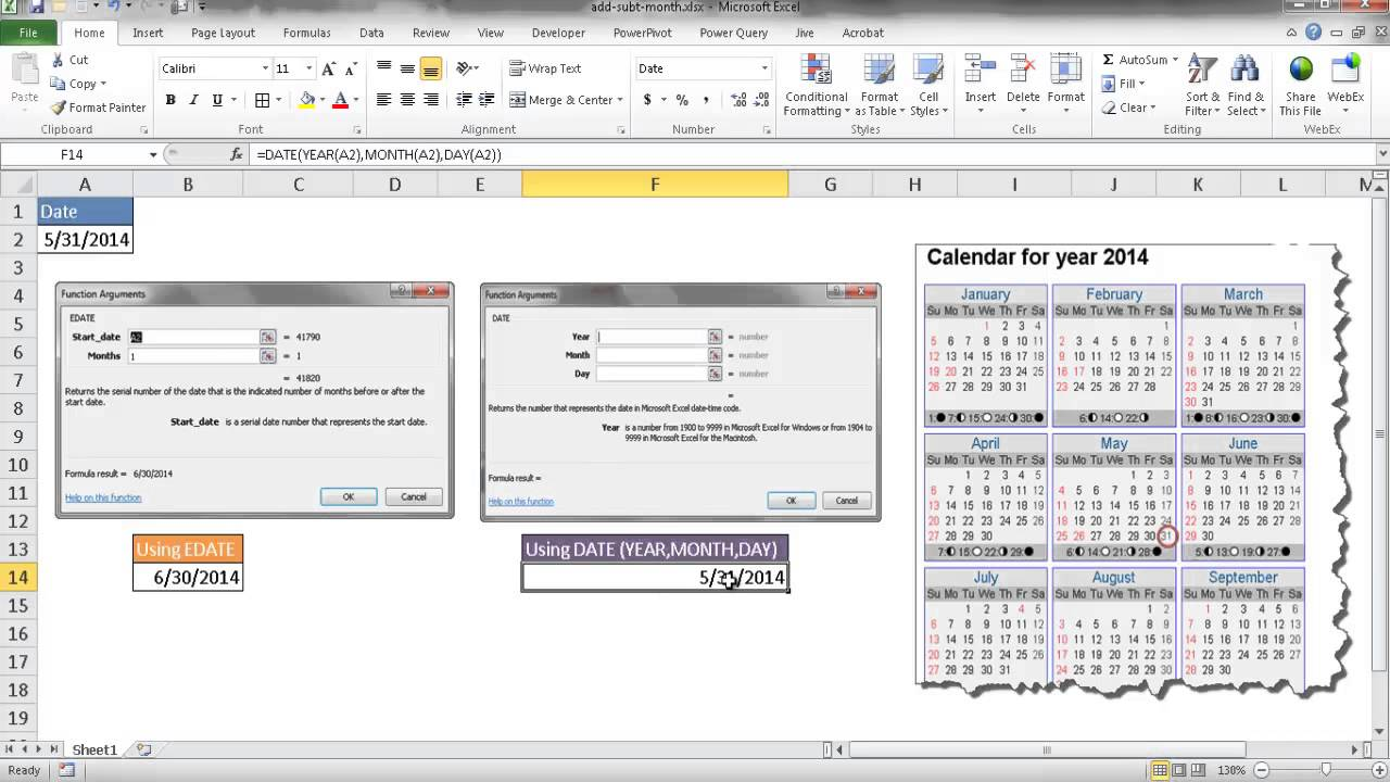 How to Add Months to or Subtract Months From a Date in Excel