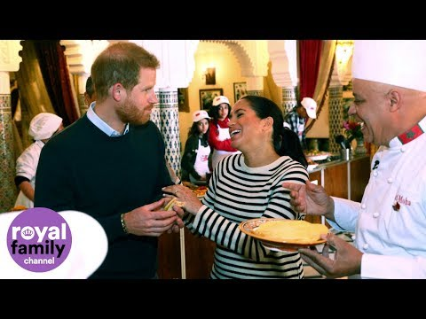 'C'est délicieux': Duke and Duchess of Sussex taste traditional Moroccan food, including pigeon!