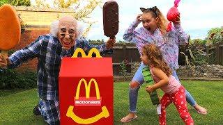Greedy Grandpa takes McDonalds! Kids Pretend Play Food Toys Ice Cream