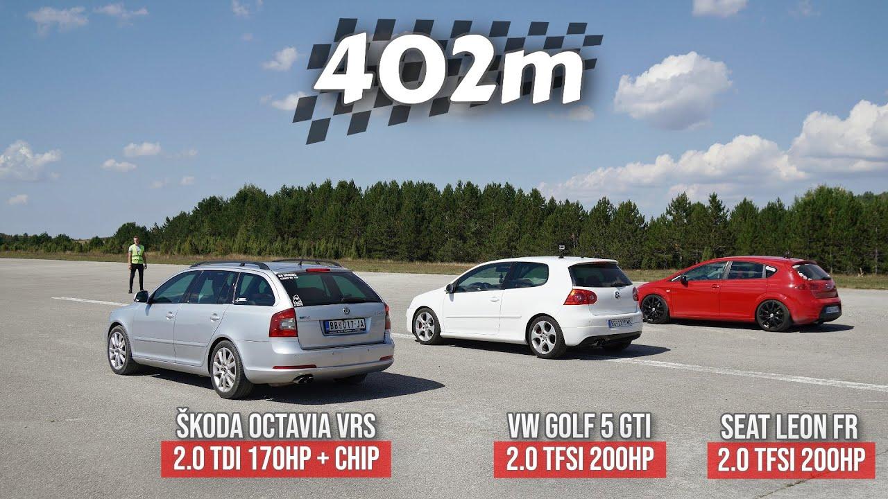 Download 402m: VW Golf 5 GTI vs Seat Leon Fr vs Škoda Octavia vRS