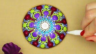 """Dot Mandala Design Pattern Idea """"Mythical Sand Dollar"""" Time-Lapse  Mandala Rock Painting with Music"""