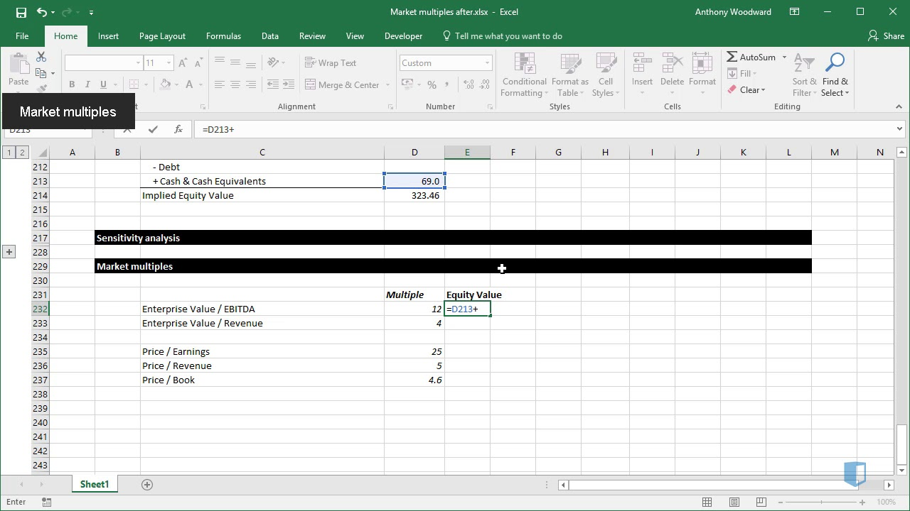 Calculating Enterprise Value to EBITDA Multiple in Excel