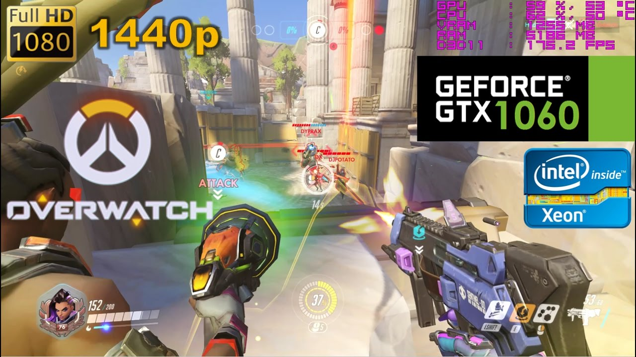 GTX 1060 | Overwatch - LOW SETTINGS 1080p, 1440p