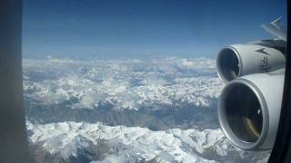 Emirates A380 over Himalaya / Tibet