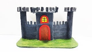 How to Make a Castle Using Cardboard   Fort Show Piece  DIY 