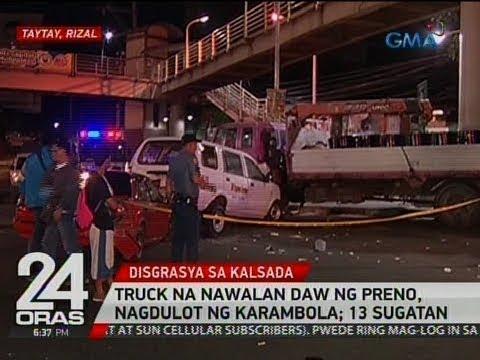 24 Oras: Truck na nawalan daw ng preno, nagdulot ng karambola; 13 sugatan