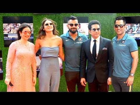 Sachin Movie GRAND Premiere With Indian Cricket Team - Virat,Dhoni,Yuvraj,Shikhar,Anushka
