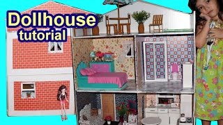 Tutorial: How to make a cardboard dollhouse for Barbie, Monster High, Frozen, EAH, etc DIY