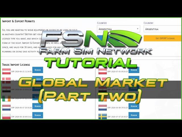 Global Market (Part 2): Imports & Exports | Farm Sim Network (FSN) Tutorial #20