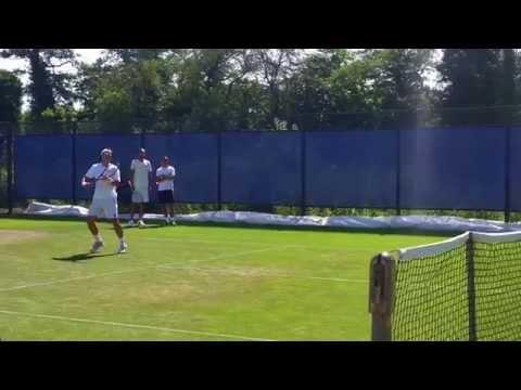 David Ferrer practice session clip 2 2015 Aegon Open Nottingham
