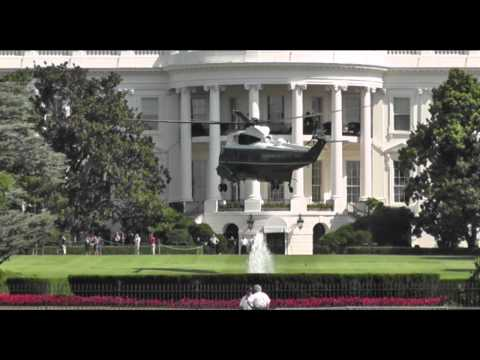 Obama's helicopter arrival and landing - White House -  Washington - July 30 2013 -