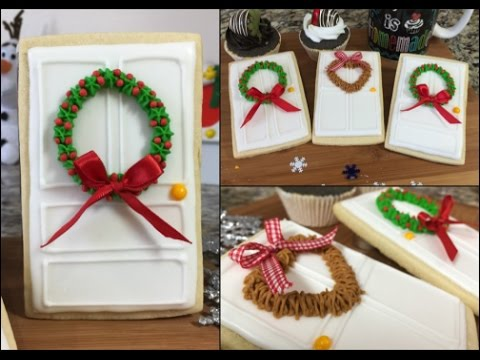 Door Cookies With Holiday Wreaths How To