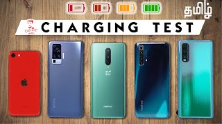 (தமிழ்) OnePlus 8 vs vivo X50 Pro / X3 SuperZoom / iPhone SE 2 / OPPO Find X2 - Battery Charge Test