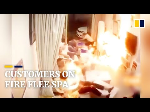 Customers on fire flee spa after alcohol burst into flames in China