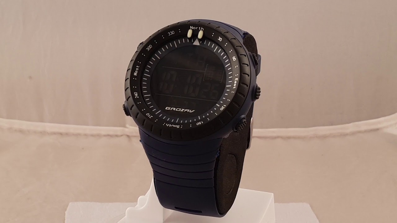 Digital Indicator With Rotatable Bezel : Grozav gzw blue digital sports watch with black