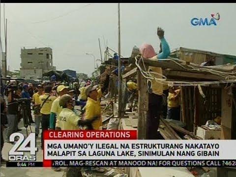 Mga umano'y ilegal na estrukturang nakatayo malapit sa Laguna Lake, sinimulan nang gibain