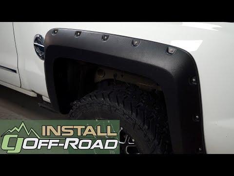 Paintable Reg-Long Box 2014-2017 Silverado Fender Flare 1500 Rivet Black