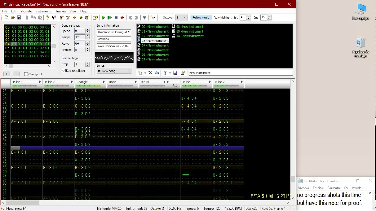Famitracker project: The wind is blowing at Cavi Cape