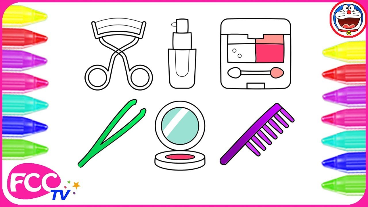 Learning colors for toddlers printables - How To Color Learn To Draw Makeup Set Coloring Pages For Girls To Learn Colors Draw For Kids