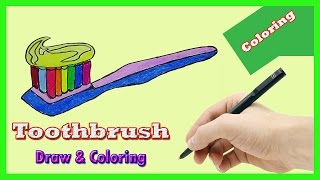 How to draw toothbrush and toothbrush coloring page for Kids