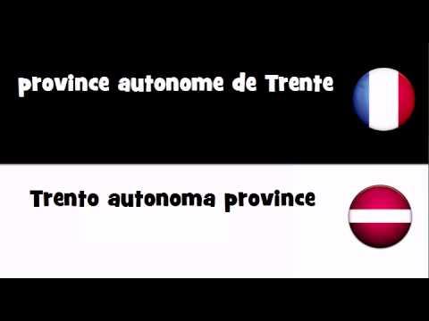 Traduction en 20 langues # province autonome de Trente