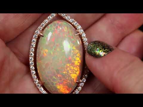 Opal & Diamond Halo Pendant,Huge 44 carat  Bespoke Custom Jewelry