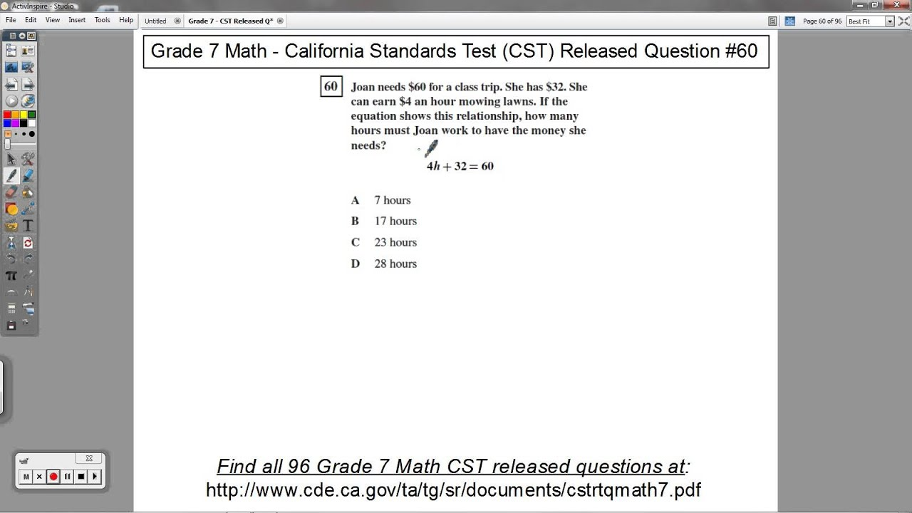 Grade 7 Math - CST Released Question #60 (Word Problems and Solving  Equations)